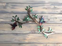 birds on a branch bird wall art metal