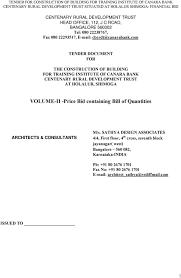 Sathya Design Associates Volume Ii Price Bid Containing Bill Of Quantities Pdf