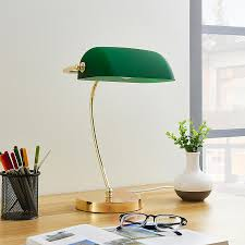 Brass Coloured Table Lamp Selea Green Glass Shade