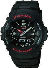"analogue digital combination watches dual time watch shop comâ""¢ mens casio g shock antimagnetic alarm chronograph watch g 100 1bvmur"