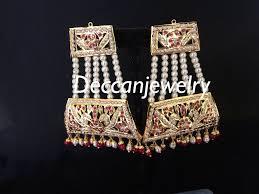 manila punjabi jadau jhoomar earrings in rubies deccan jewelry