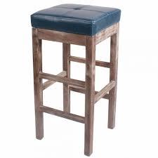 valencia bonded leather bar stool drift wood legs vintage blue for