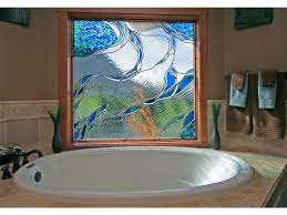 Stained Glass Window Designs For Bathrooms Handmade Stained Glass In A Bathroom Window By Isaac D Smith