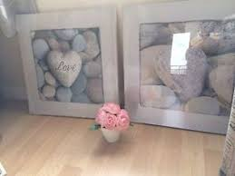>set of two bathroom heart white grey pebble love pictures canvas  image is loading set of two bathroom heart white grey pebble