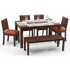 space saving furniture dining table. Arabia - Oribi 6 Seater Dining Table Set (With Bench) (Teak Finish, Space Saving Furniture