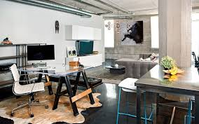 Office:Stunning Industrial Home Office Design With Glass Table And White  Modern Chair Also Grey