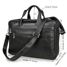 "Nesitu <b>Big Black</b> Coffee Genuine <b>Leather</b> 14'' 15.6"" Laptop <b>Men</b> ..."
