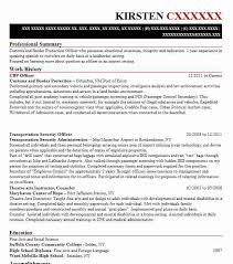 Resume For Customs And Border Protection Officer Cbp Officer Objectives Resume Objective Livecareer