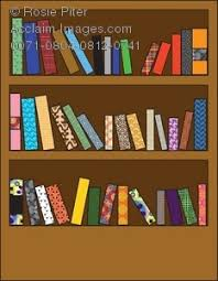 clipart ilration of a wooden bookshelf with diffe patterned books