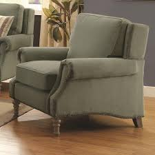 rosenberg traditional rolled arm chair with subtle wing back and nailheads