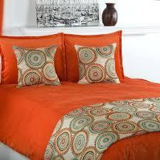 black and orange bedding grey