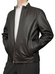 mens luxury leather er jacket black