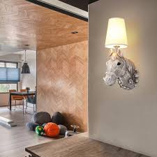 wall lighting for bedroom. wall light europe resin horse head lamp bedroom creative fashion corridor balcony study lighting for o