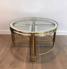 round brass coffee table 4 nesting tables