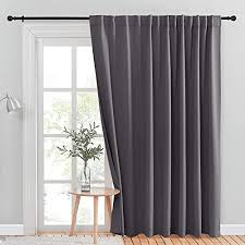 nicetown patio door curtain slider blind vertical blinds wide width blackout curtains ds with rod pocket back tab design grey sliding door dries 100 inches w x 84 inches l single