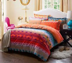 free cotton bed linens sanding pcs orange blue geometric