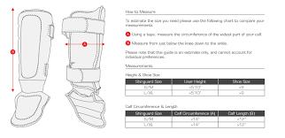 Shin Guard Size Chart Hayabusa Shin Guard Size Guide Martial Art Shop