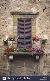 Italien Toskana Französischer Balkon Mit Rosa Roten Und Weißen