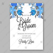 Blue Floral Vector Background Wedding Invitation Card Template Modern Floral Design