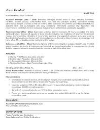 Store Manager Sample Resume Assistant Manager Resume Retail Store