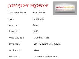 Asian paints company profile