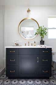 bathroom remodel black vanity. Beautiful Bathroom Gorgeous Bathroom With Navy Vanity Brass Mirror Faucet U0026 Hardware Love  The Patterned Floor Tiles Throughout Remodel Black Vanity