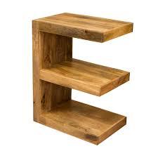 Ambala Cube Light Mango Wood E Shape Side Table - Lamp