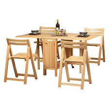 dining room folding chairs. Unvarnished Oak Wood Drop Leaf Dining Table Added By Four Folding Chairs With Square Seat To Save More Spaces Room A