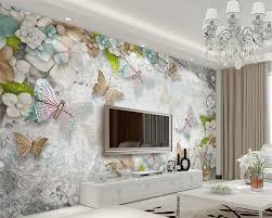 Beibehang 3d Prachtige Vlinder Bloemen Parel 3d Woonkamer Tv Muur