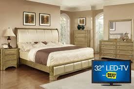 Led Bedroom Furniture Golden 5 Piece Queen Bedroom Set With 32 Led Tv
