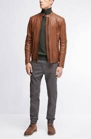 boss orange sheepskin biker jacket jeeper mens casual open brown