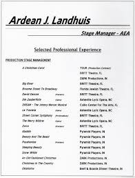 Stage Management Resume`  Ardean J. Landhuis Performing Arts
