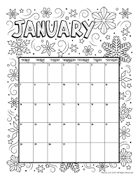 Calendar Coloring Pages Seatdreams Co