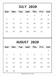 July August 2020 Calendar Printable Monthly 2020 Calendar