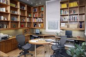 organizing ideas for home office. Marvelous Free Standing Book Storage Cabinet Over Custom L Shape Computer Desk Also Small Round Table And Two Swivel Chairs In Home Office Organizing Ideas For