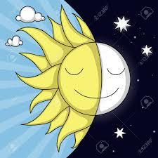 Joli Jour Et De La Nuit Illustration Avec Sourire Soleil Et La
