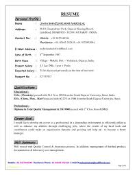 Sample Mba Resume For Freshers And Resume Format For Mechanical