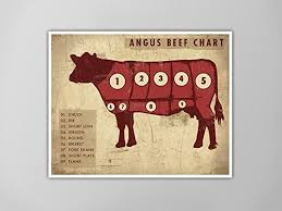 Cow Meat Chart Poster Amazon Com Angus Beef Chart Art Print Rustic Meat Chart
