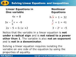linear equations in one variable