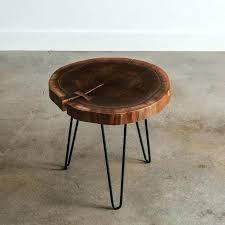 x live edge round coffee table wood hairpin legs side walnut natural slab