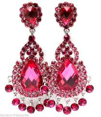 big crystal magenta pink chandelier clip on earrings 3 25 costume party pageant
