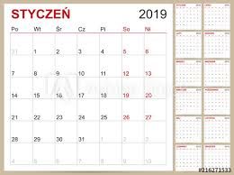 12 Week Calendar Template Polish Calendar 2019 Polish Planning Calendar 2019 Polish
