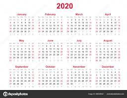 12 Months 2020 Calendar 2020 Yearly Calendar Months Yearly Calendar Set 2020 Set
