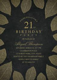 gold leaves 21st birthday invitations elegant frame templates