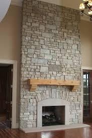 light brick rock fireplace between 2 wooden doors