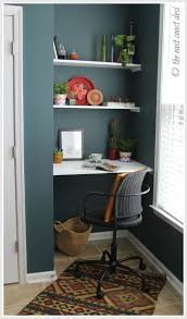office desk for small space. Apartment Pendant Lamp Office Desk Small Space Floating Shelves Wooden Chair Minimalist For N