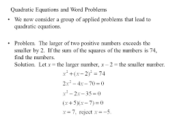 quadratic equations and word problems