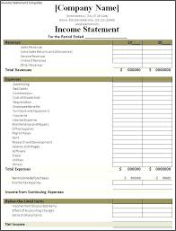 Balance Sheet Example Excel Income Statement Blank Samples