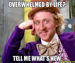 overwhelmed by life? tell me what's new - Willy Wonka Sarcasm Meme ... via Relatably.com