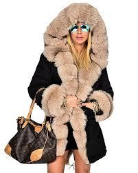 roiii winter women parka jacket coat pink muti faux fur hooded outwear over coat uk plus